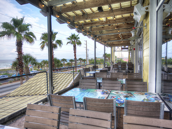Bama Breeze Deck interior with chairs and tables